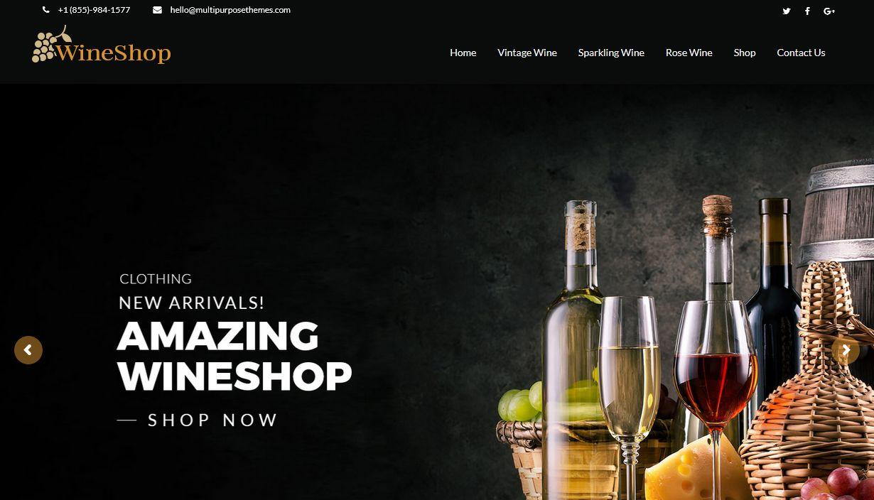 Wine Shop Business WordPress Theme Los Angeles