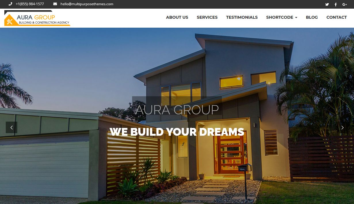 Aura Construction WordPress Theme Los Angeles