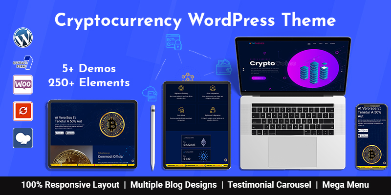 Responsive Cryptocurrency WordPress Theme Chicago With Bitcoin Dashboards + ICO