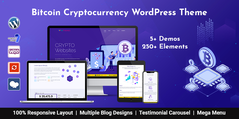 Bitcoin Cryptocurrency WordPress Theme Los Angeles