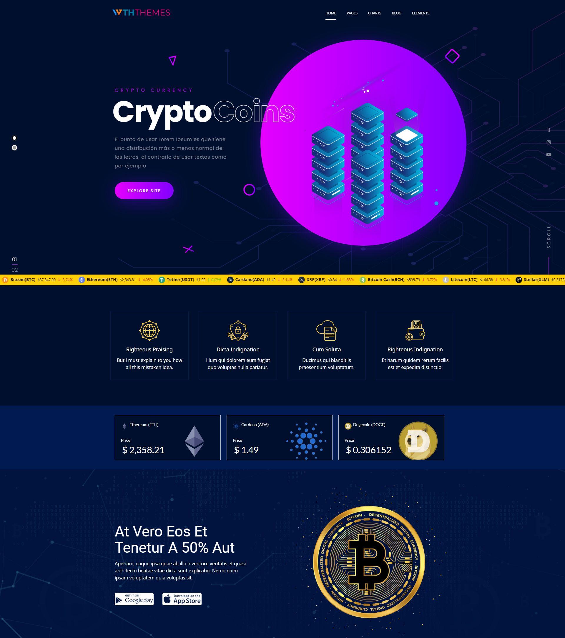 Bitcoin and Crypto Currency WordPress Theme